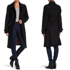 Kate Spade Coat Double Breasted Wool Black M NWT
